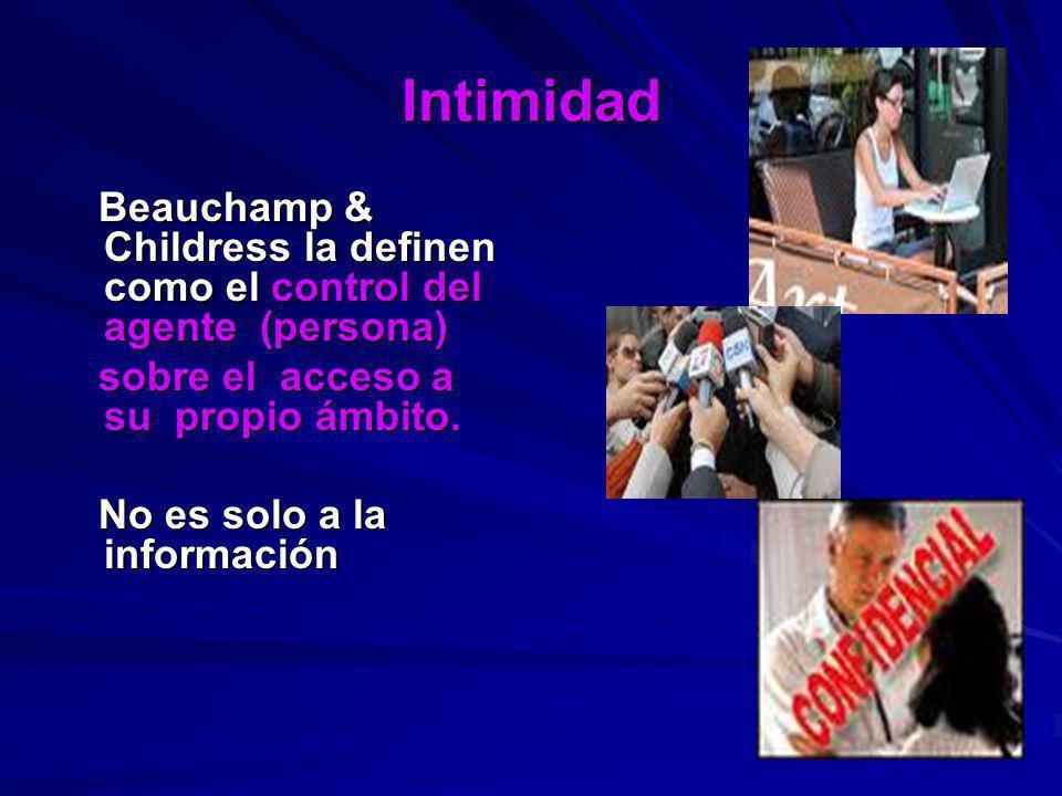 Intimidad Beauchamp & Childress la definen como el control del agente (persona) Beauchamp & Childress la definen como el control del agente (persona)