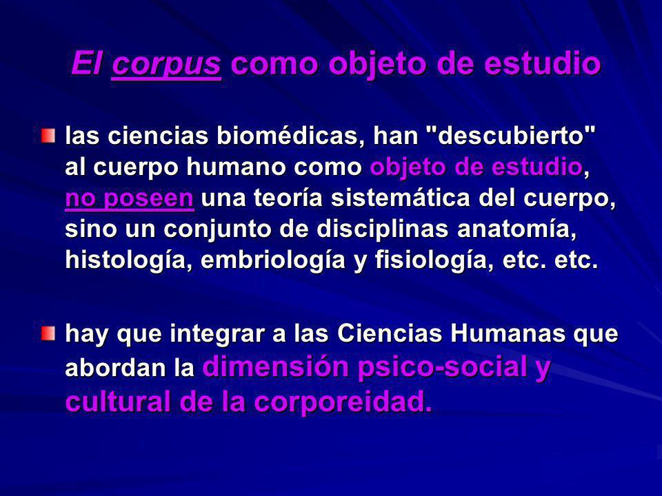 El corpus como objeto de estudio El corpus como objeto de estudio las ciencias biomédicas, han