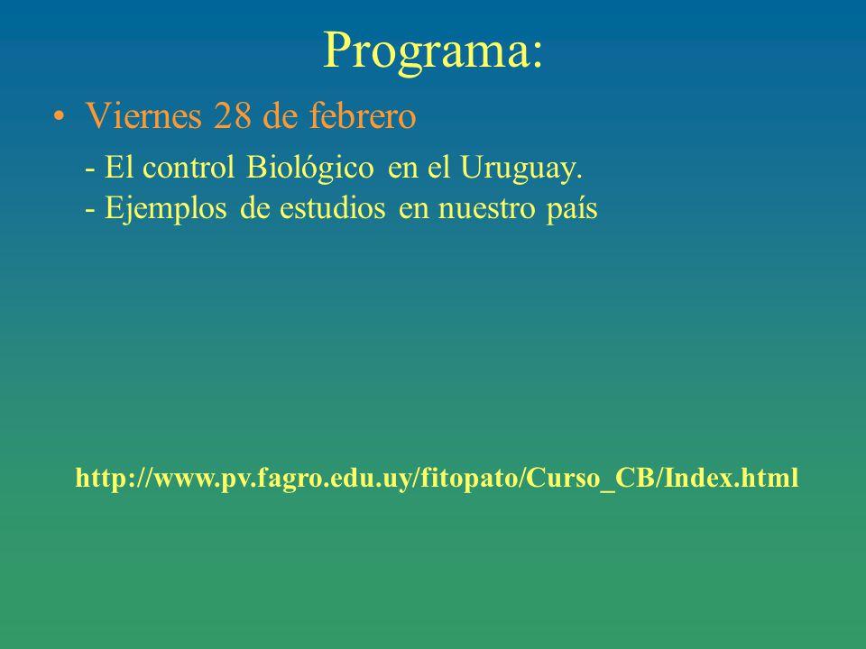 Programa: Viernes 28 de febrero - El control Biológico en el Uruguay.
