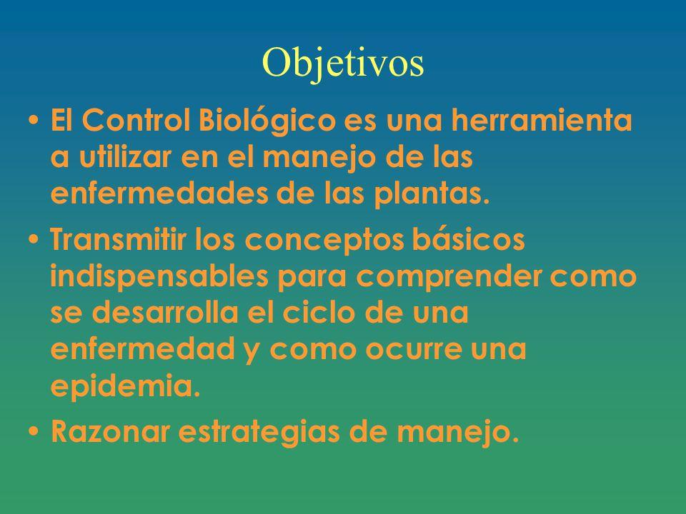 Objetivos El Control Biológico es una herramienta a utilizar en el manejo de las enfermedades de las plantas.