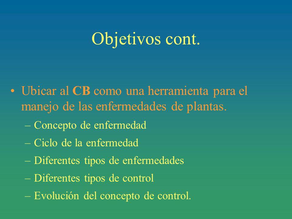 Objetivos cont.Ubicar al CB como una herramienta para el manejo de las enfermedades de plantas.