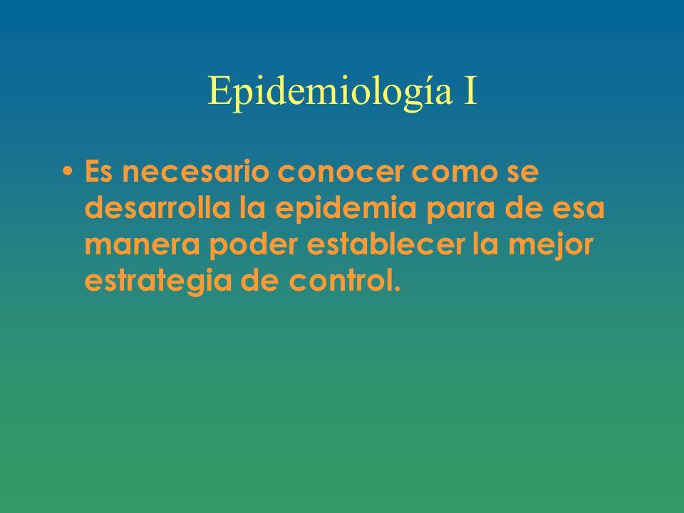 Epidemiología I Es necesario conocer como se desarrolla la epidemia para de esa manera poder establecer la mejor estrategia de control.