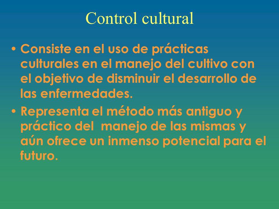 Control cultural Consiste en el uso de prácticas culturales en el manejo del cultivo con el objetivo de disminuir el desarrollo de las enfermedades.