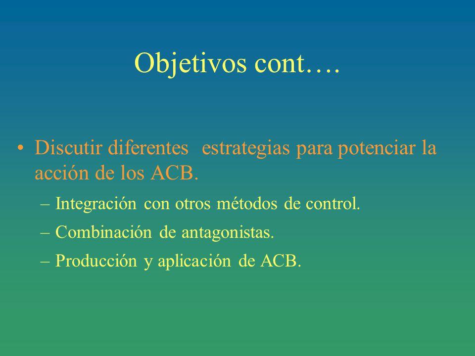Objetivos cont….Discutir diferentes estrategias para potenciar la acción de los ACB.