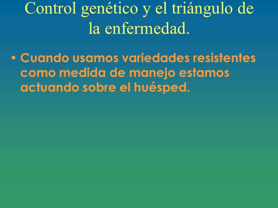 Control genético y el triángulo de la enfermedad.