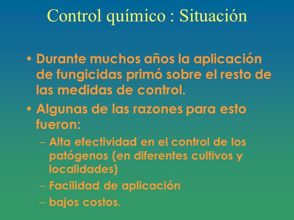 Control químico : Situación Durante muchos años la aplicación de fungicidas primó sobre el resto de las medidas de control.