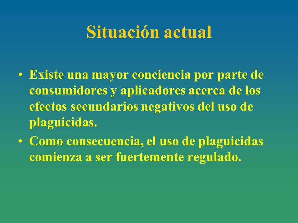 Situación actual Existe una mayor conciencia por parte de consumidores y aplicadores acerca de los efectos secundarios negativos del uso de plaguicidas.