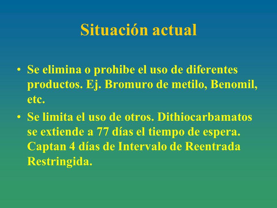 Situación actual Se elimina o prohibe el uso de diferentes productos.