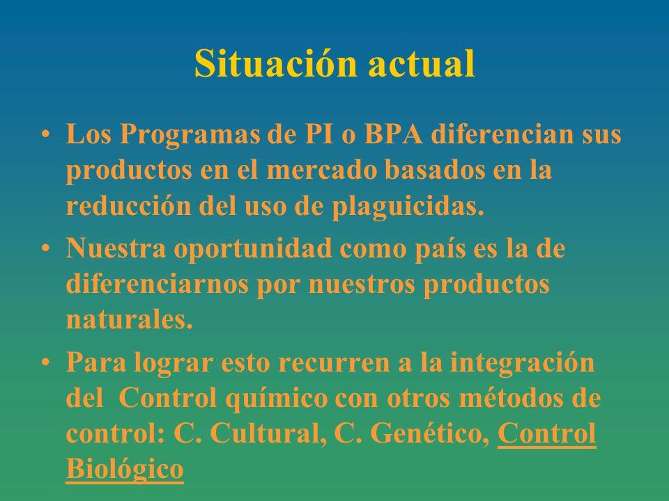Situación actual Los Programas de PI o BPA diferencian sus productos en el mercado basados en la reducción del uso de plaguicidas.