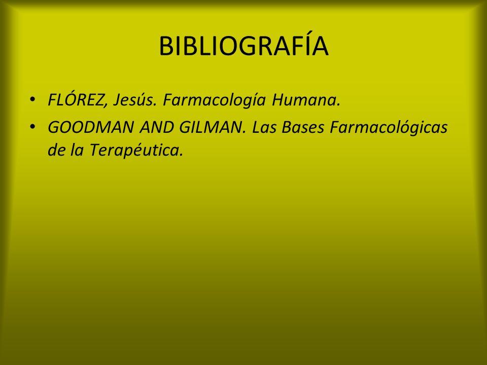 BIBLIOGRAFÍA FLÓREZ, Jesús. Farmacología Humana. GOODMAN AND GILMAN. Las Bases Farmacológicas de la Terapéutica.