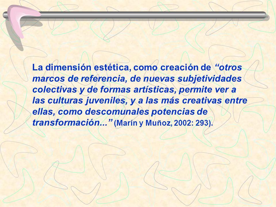 La dimensión estética, como creación de otros marcos de referencia, de nuevas subjetividades colectivas y de formas artísticas, permite ver a las cult