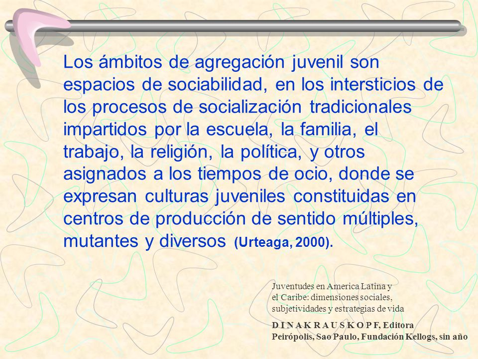 Los ámbitos de agregación juvenil son espacios de sociabilidad, en los intersticios de los procesos de socialización tradicionales impartidos por la e