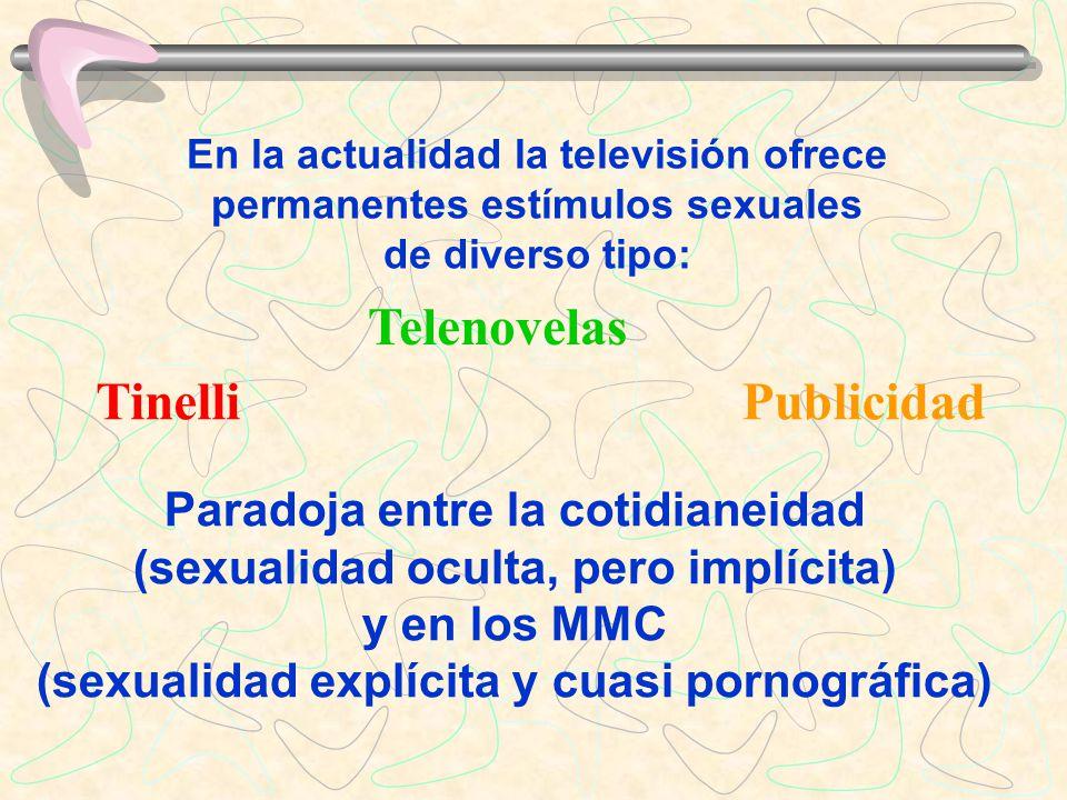 En la actualidad la televisión ofrece permanentes estímulos sexuales de diverso tipo: Paradoja entre la cotidianeidad (sexualidad oculta, pero implíci