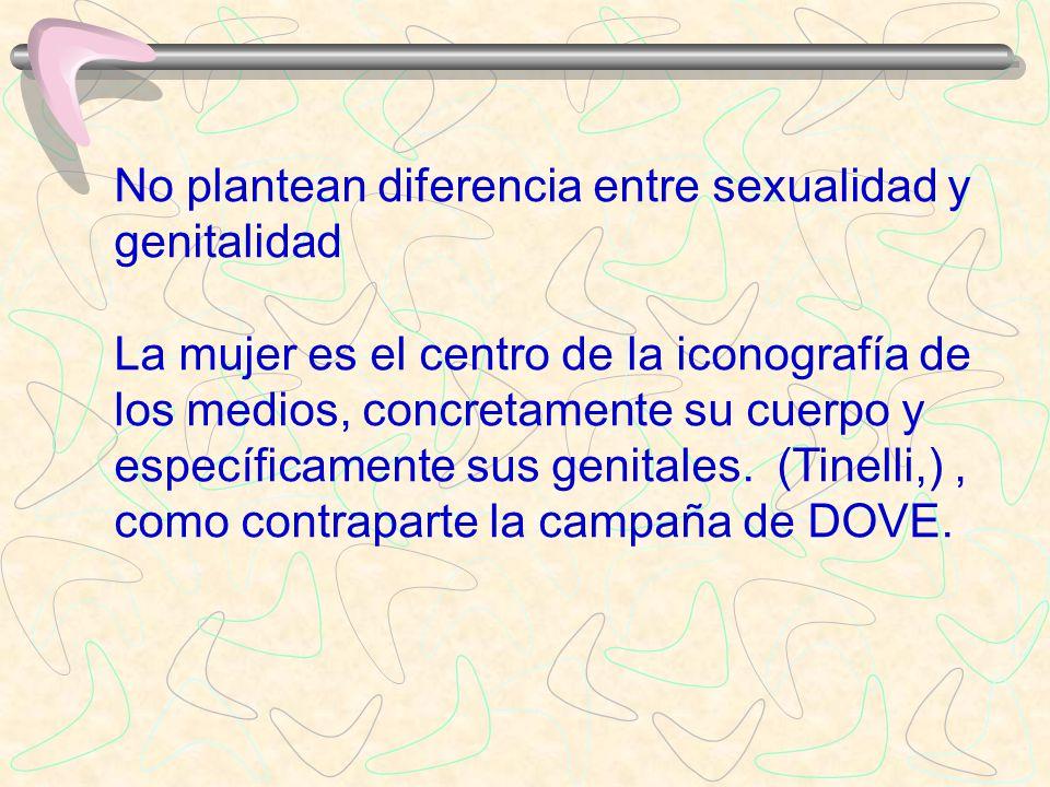 No plantean diferencia entre sexualidad y genitalidad La mujer es el centro de la iconografía de los medios, concretamente su cuerpo y específicamente