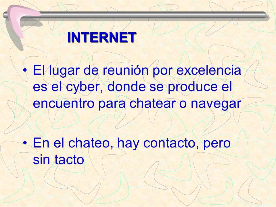 El lugar de reunión por excelencia es el cyber, donde se produce el encuentro para chatear o navegar En el chateo, hay contacto, pero sin tacto INTERN