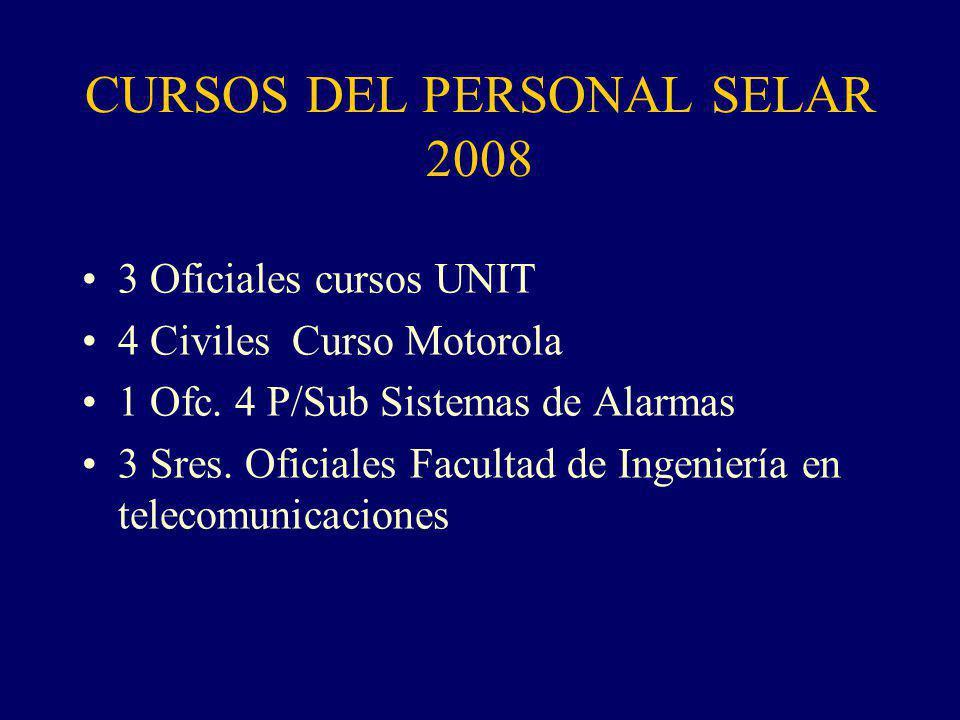 CURSOS DEL PERSONAL SELAR 2008 3 Oficiales cursos UNIT 4 Civiles Curso Motorola 1 Ofc.