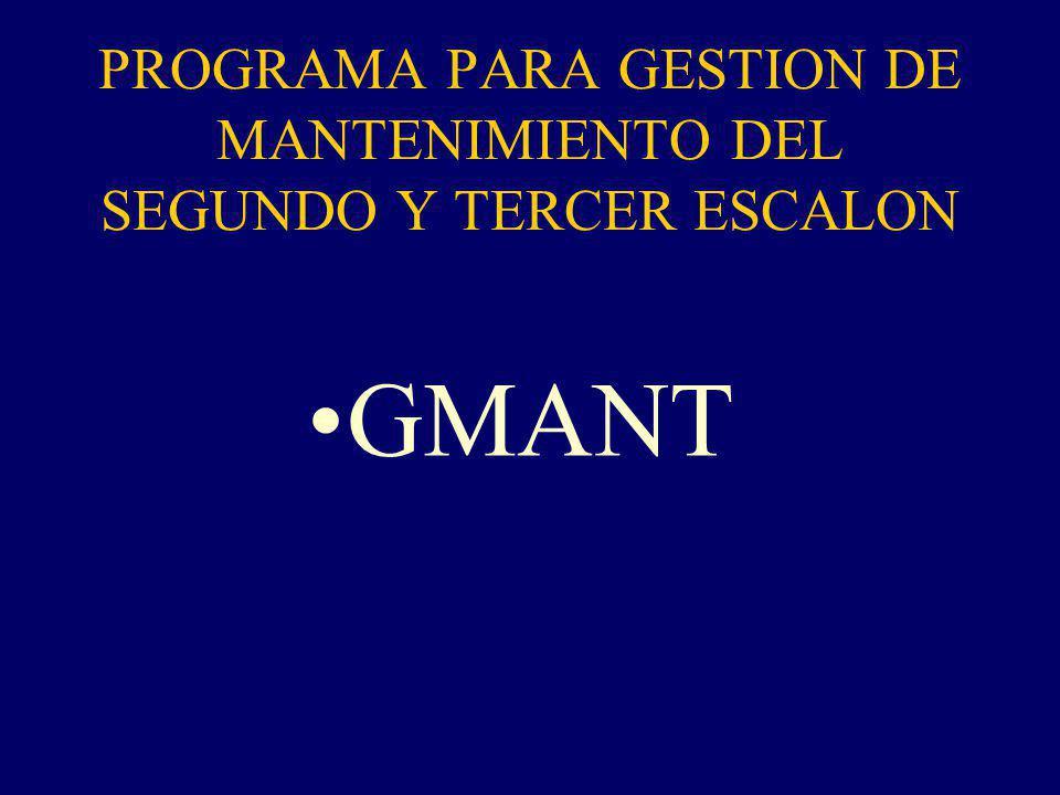 PROGRAMA PARA GESTION DE MANTENIMIENTO DEL SEGUNDO Y TERCER ESCALON GMANT
