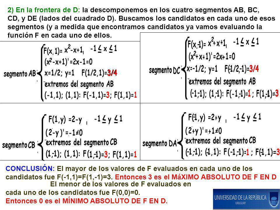 2) En la frontera de D: la descomponemos en los cuatro segmentos AB, BC, CD, y DE (lados del cuadrado D). Buscamos los candidatos en cada uno de esos