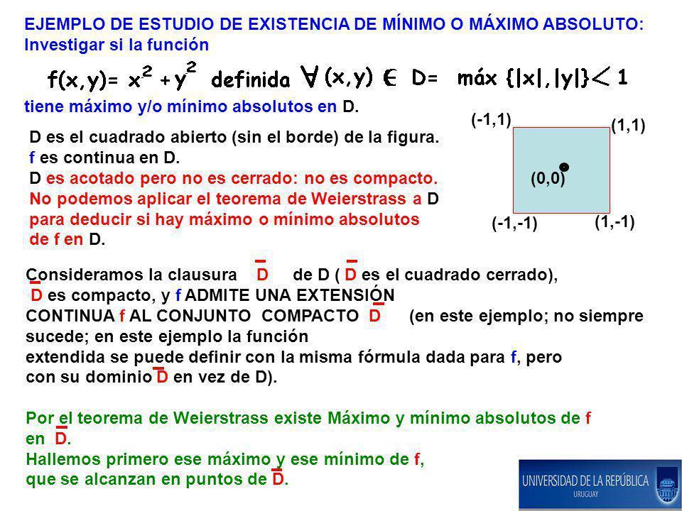EJEMPLO DE ESTUDIO DE EXISTENCIA DE MÍNIMO O MÁXIMO ABSOLUTO: Investigar si la función tiene máximo y/o mínimo absolutos en D. D es el cuadrado abiert
