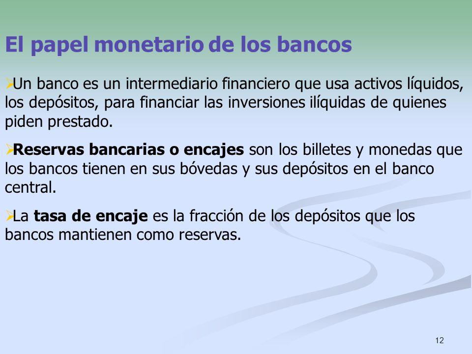 12 El papel monetario de los bancos Un banco es un intermediario financiero que usa activos líquidos, los depósitos, para financiar las inversiones il