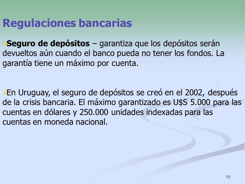 15 Regulaciones bancarias Seguro de depósitos – garantiza que los depósitos serán devueltos aún cuando el banco pueda no tener los fondos. La garantía