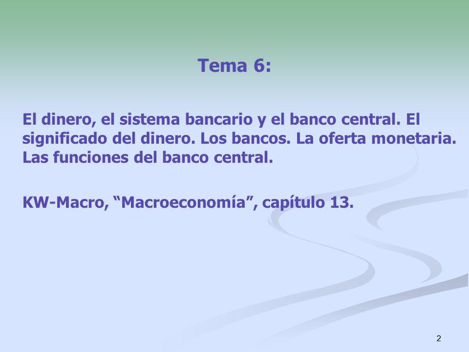 Tema 6: El dinero, el sistema bancario y el banco central. El significado del dinero. Los bancos. La oferta monetaria. Las funciones del banco central