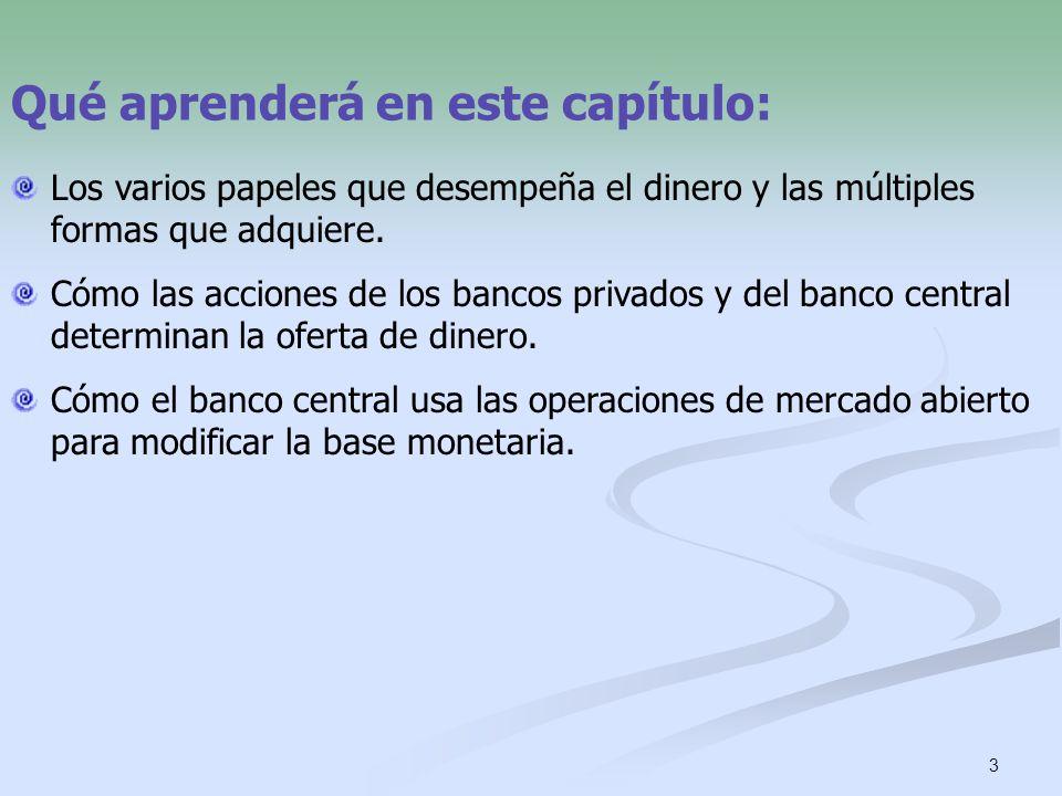 3 Qué aprenderá en este capítulo: Los varios papeles que desempeña el dinero y las múltiples formas que adquiere. Cómo las acciones de los bancos priv