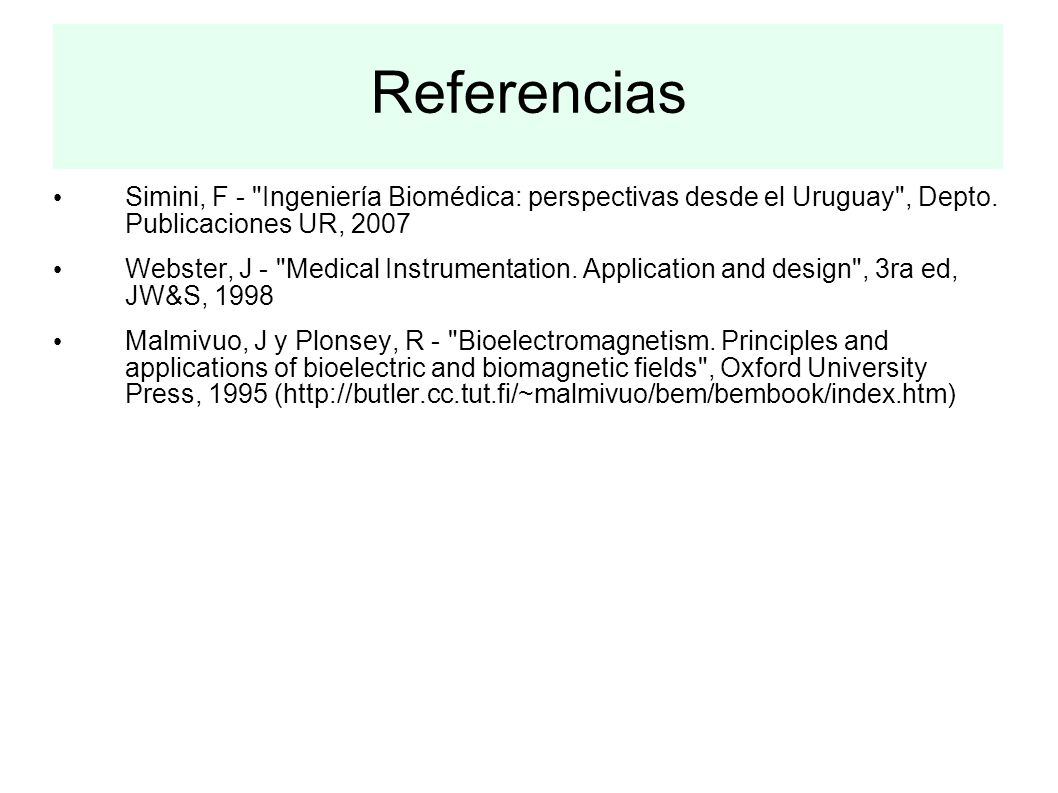 Referencias Simini, F -