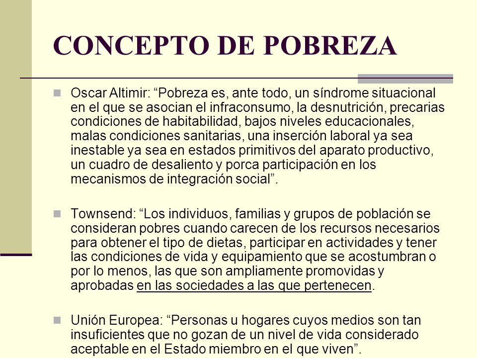 CONCEPTO DE POBREZA Oscar Altimir: Pobreza es, ante todo, un síndrome situacional en el que se asocian el infraconsumo, la desnutrición, precarias con