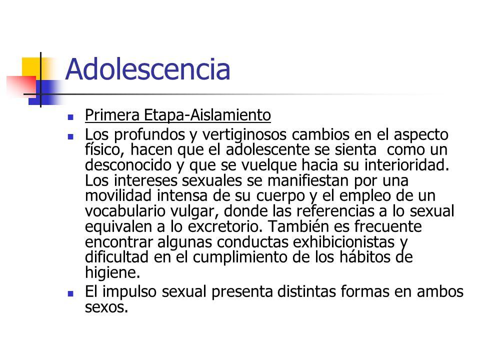 Adolescencia Primera Etapa-Aislamiento Los profundos y vertiginosos cambios en el aspecto físico, hacen que el adolescente se sienta como un desconoci