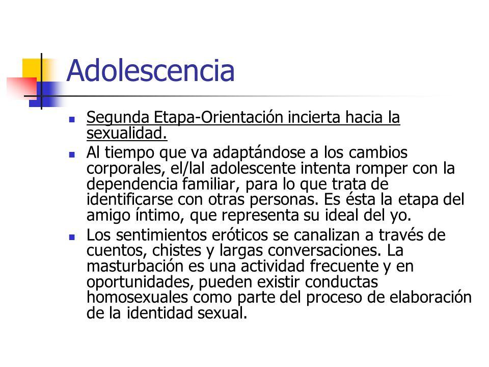 Adolescencia Segunda Etapa-Orientación incierta hacia la sexualidad. Al tiempo que va adaptándose a los cambios corporales, el/lal adolescente intenta