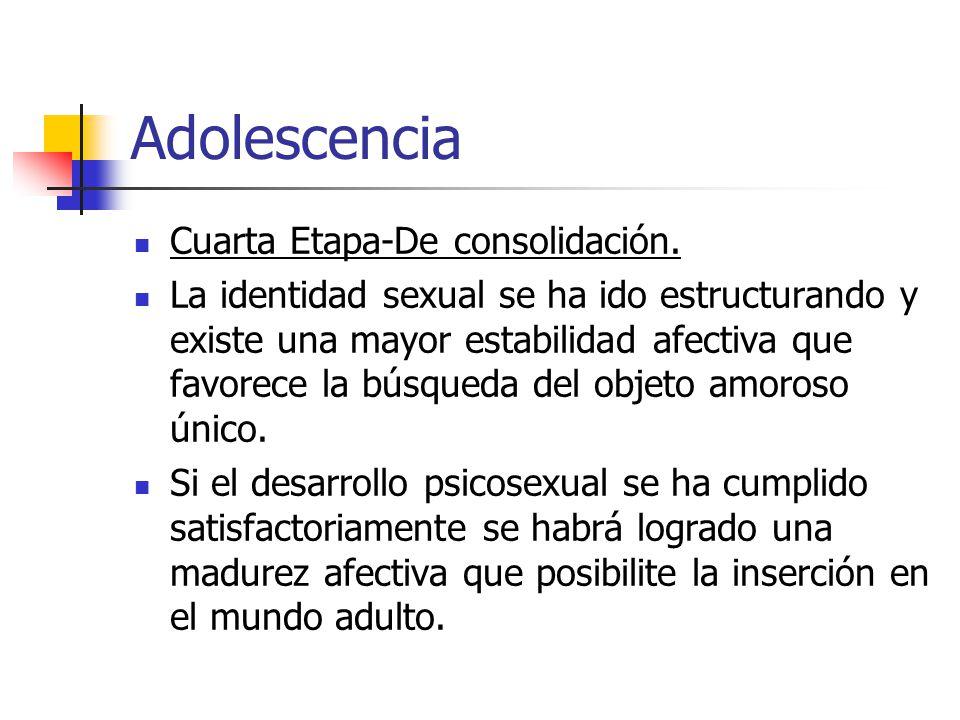Adolescencia Cuarta Etapa-De consolidación. La identidad sexual se ha ido estructurando y existe una mayor estabilidad afectiva que favorece la búsque