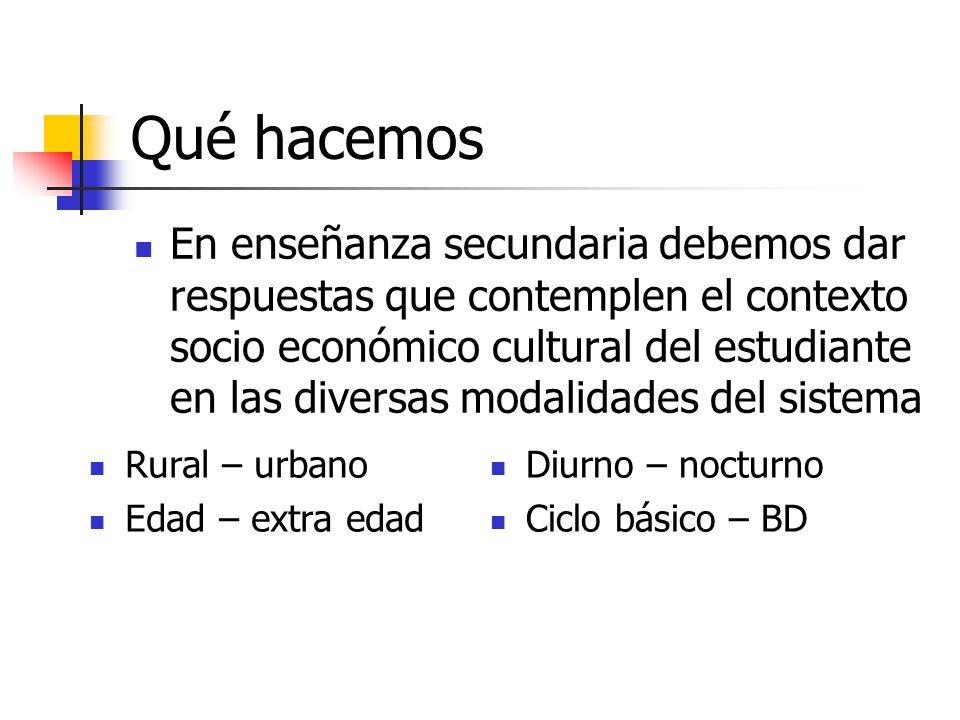 Qué hacemos En enseñanza secundaria debemos dar respuestas que contemplen el contexto socio económico cultural del estudiante en las diversas modalida