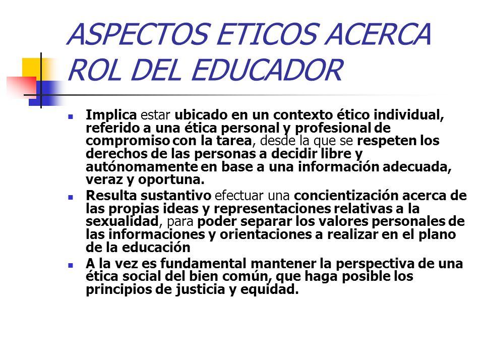 ASPECTOS ETICOS ACERCA ROL DEL EDUCADOR Implica estar ubicado en un contexto ético individual, referido a una ética personal y profesional de compromi