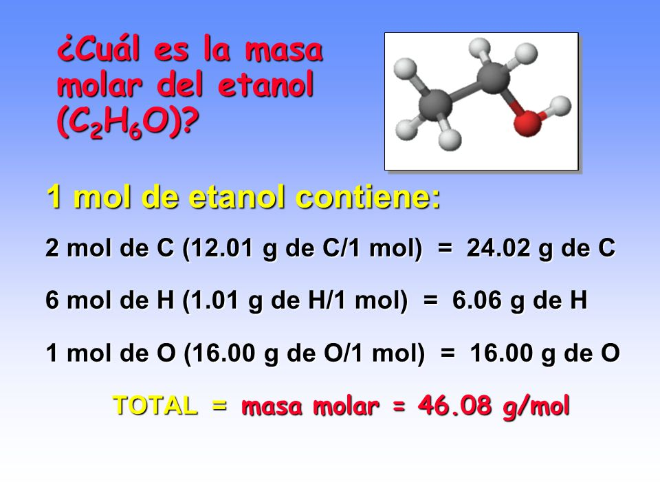 MASA MOLECULAR Y MASA MOLAR Masa molecular = suma de las masas atómicas de todos los átomos presentes en la molécula. Masa molar molecular = masa (en