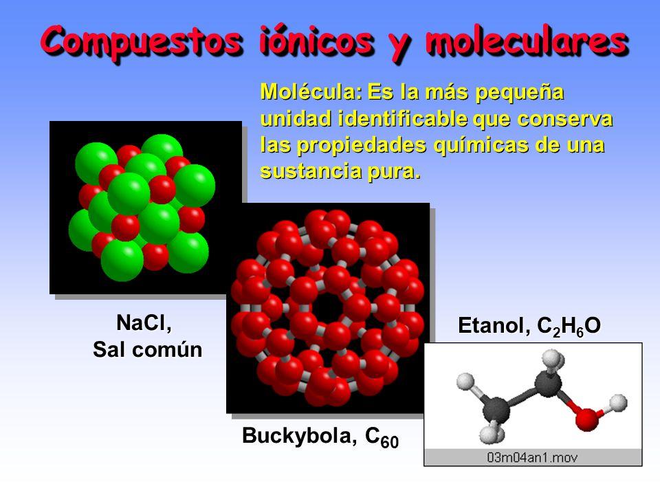 Compuestos iónicos y moleculares NaCl, Sal común Buckybola, C 60 Etanol, C 2 H 6 O Molécula: Es la más pequeña unidad identificable que conserva las propiedades químicas de una sustancia pura.