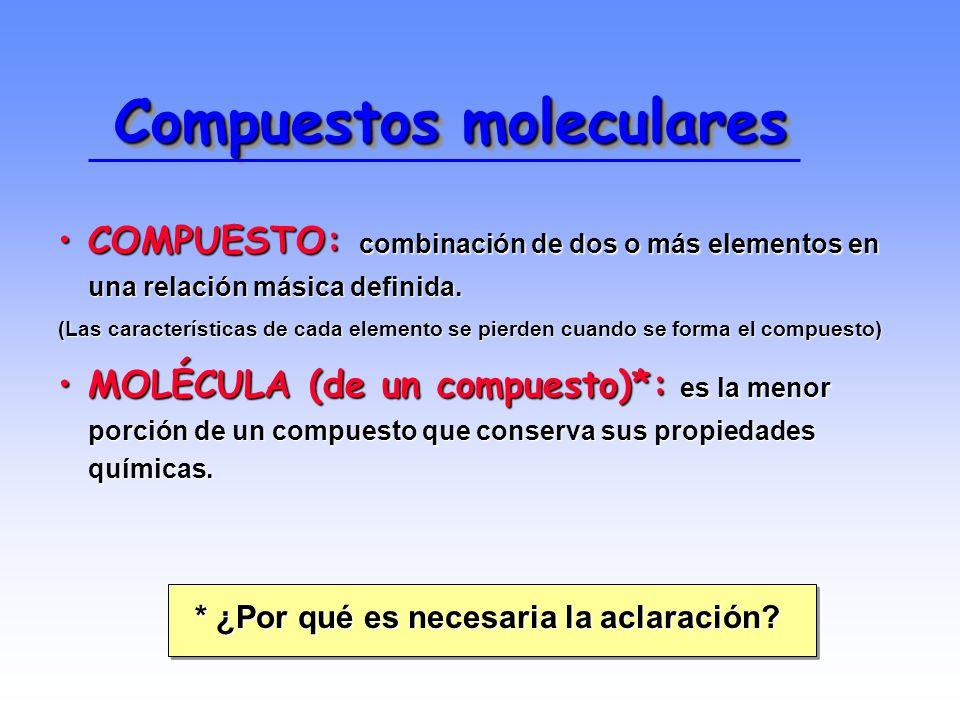 Compuestos moleculares COMPUESTO: combinación de dos o más elementos en una relación másica definida.COMPUESTO: combinación de dos o más elementos en una relación másica definida.
