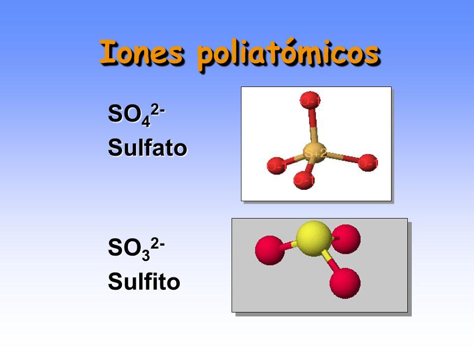 Iones poliatómicos (oxoaniones) HNO 3 Ácido nítrico NO 3 - Anión nitrato Prefijo per- y sufijo –ato: máximo Sufijo -ato : mayor Sufijo -ito : menor Pr