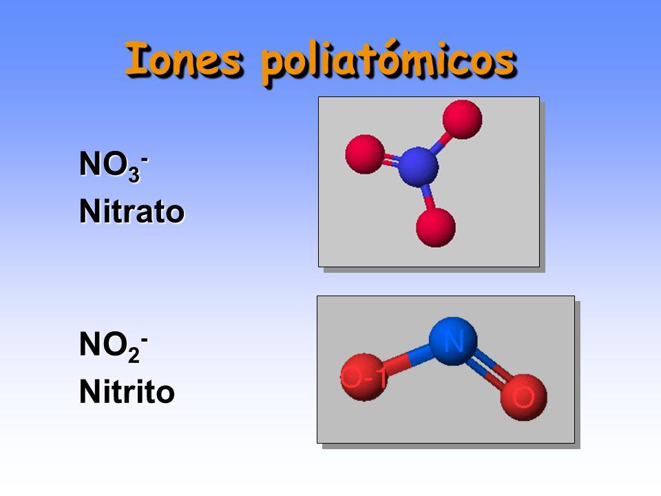 SO 4 2- Sulfato SO 3 2- Sulfito Iones poliatómicos