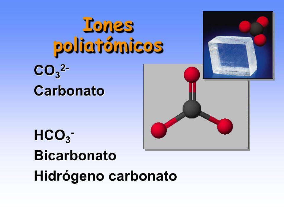 NO 3 - Nitrato NO 2 - Nitrito Iones poliatómicos