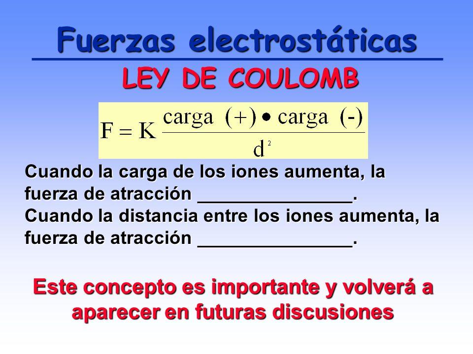 Fuerzas electrostáticas Los iones de cargas opuestas se atraen mutuamente mediante FUERZAS ELECTROSTÁTICAS. Estas fuerzas son regidas por la LEY DE CO
