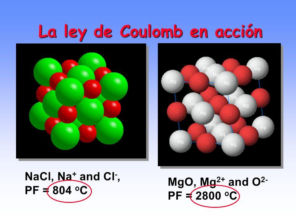 Fuerzas electrostáticas LEY DE COULOMB Cuando la carga de los iones aumenta, la fuerza de atracción _______________. Cuando la distancia entre los ion