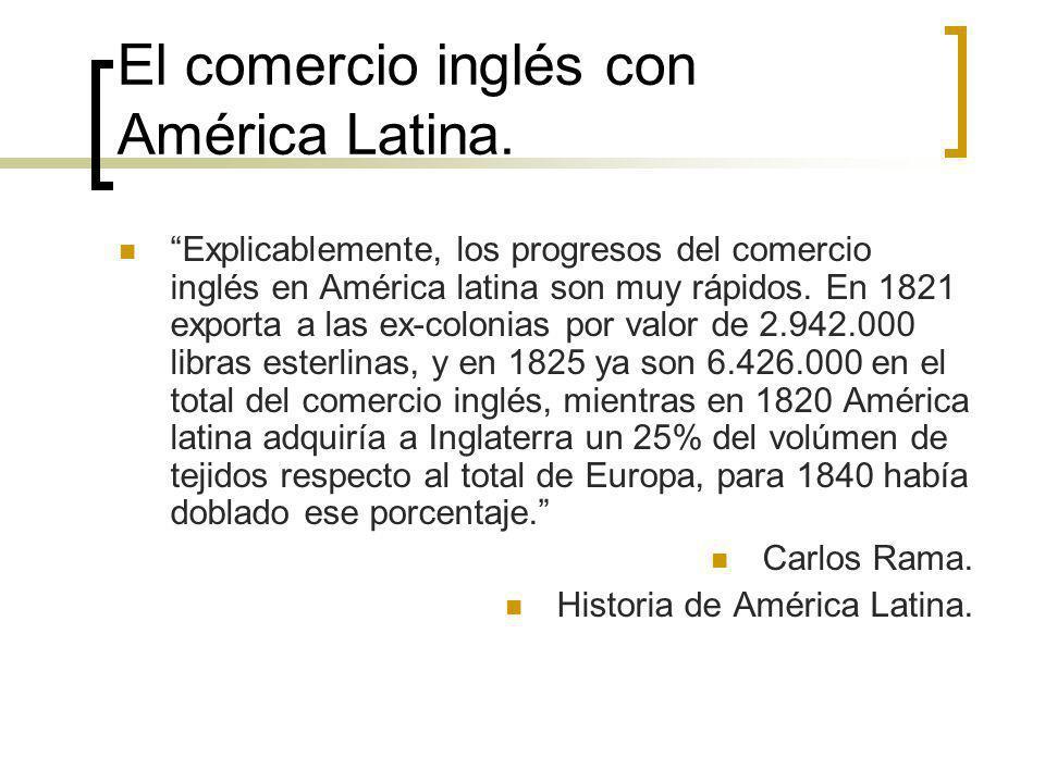 El comercio inglés con América Latina. Explicablemente, los progresos del comercio inglés en América latina son muy rápidos. En 1821 exporta a las ex-