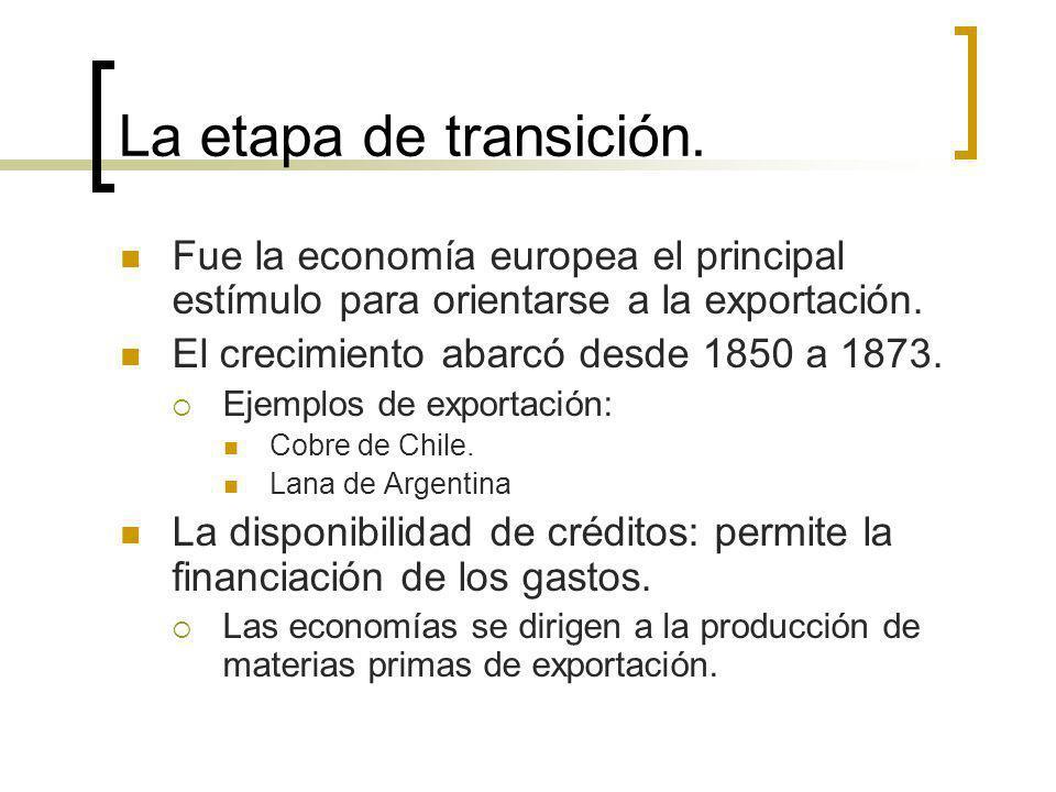 La etapa de transición. Fue la economía europea el principal estímulo para orientarse a la exportación. El crecimiento abarcó desde 1850 a 1873. Ejemp