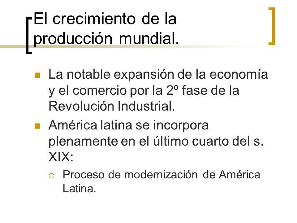 El crecimiento de la producción mundial. La notable expansión de la economía y el comercio por la 2º fase de la Revolución Industrial. América latina