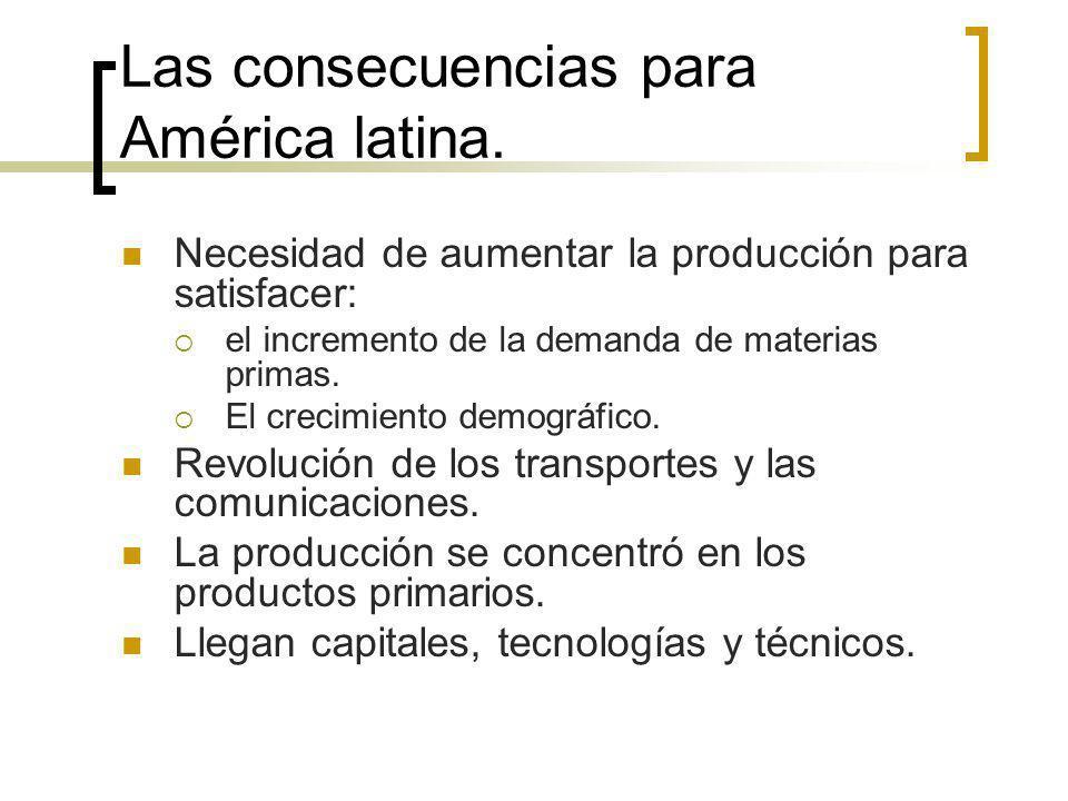 Las consecuencias para América latina. Necesidad de aumentar la producción para satisfacer: el incremento de la demanda de materias primas. El crecimi