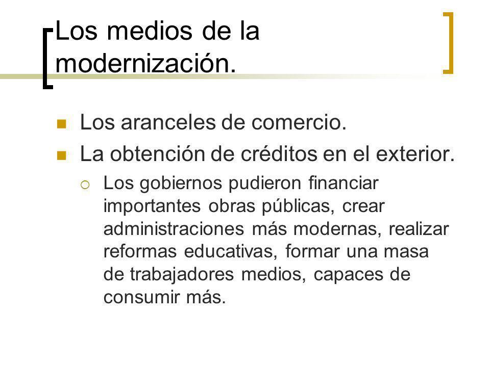 Los medios de la modernización. Los aranceles de comercio. La obtención de créditos en el exterior. Los gobiernos pudieron financiar importantes obras