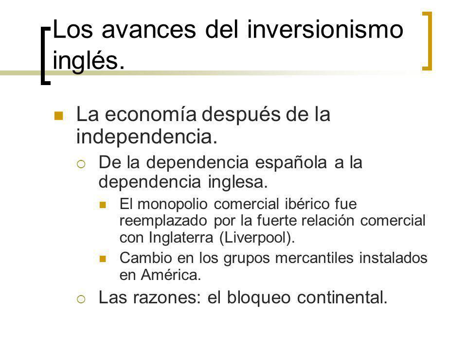 Los avances del inversionismo inglés. La economía después de la independencia. De la dependencia española a la dependencia inglesa. El monopolio comer