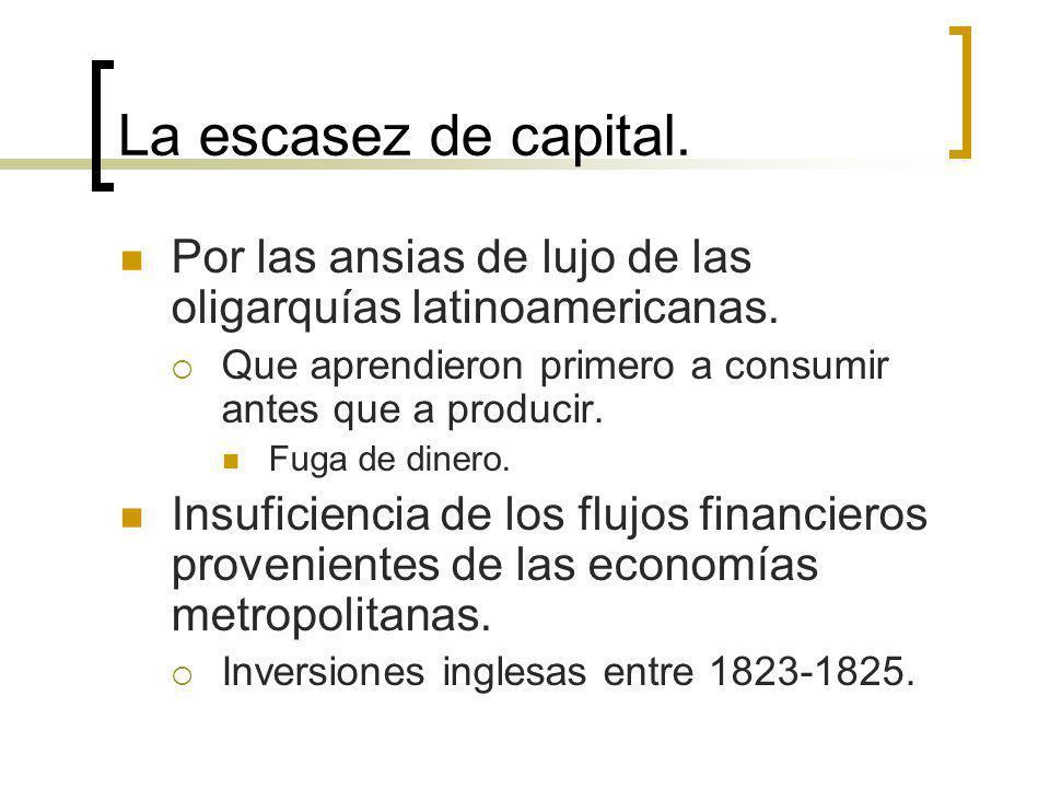 La escasez de capital. Por las ansias de lujo de las oligarquías latinoamericanas. Que aprendieron primero a consumir antes que a producir. Fuga de di
