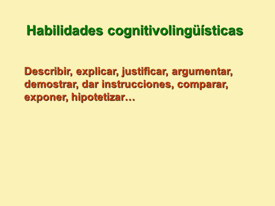 Habilidades cognitivolingüísticas Describir, explicar, justificar, argumentar, demostrar, dar instrucciones, comparar, exponer, hipotetizar…